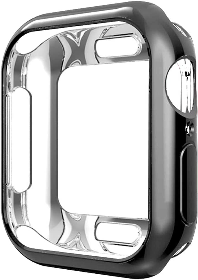 Compatible with Apple Watch Case Series 5 Series 4 40mm, New iWatch TPU Protective Cover Bumper Compatible with Apple Watch Series 5 Series 4 (40mm-Black)