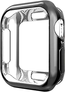 Compatible with Apple Watch Case Series 5 Series 4 44mm, New iWatch TPU Protective Cover Bumper Compatible with Apple Watch Series 5 Series 4 (44mm-Black)