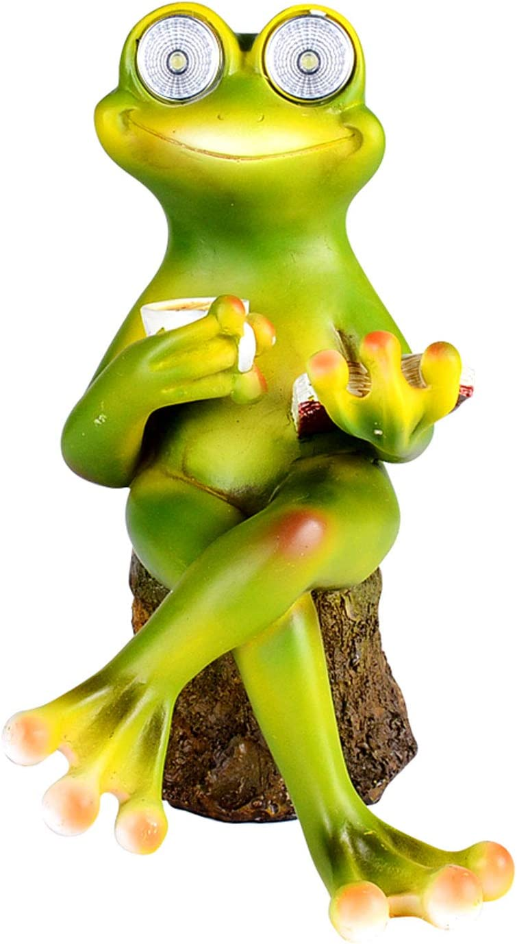 Solar Powered Frog with Book and Coffee Outdoor LED Garden Light Decor