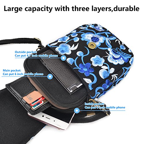 Bag Crossbody Wallet Jiyaru Purse Shoulder Bag Embroidered Cellphone Blue Mini Women WqPWB1YwR4
