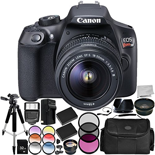 Canon EOS Rebel T6 DSLR Camera with EF-S 18-55mm f/3.5-5.6 III Lens 15PC Accessory Bundle - Includes 32GB SD Memory Card + .43x Professional Wide Angle Lens + More (Renewed) from SSE