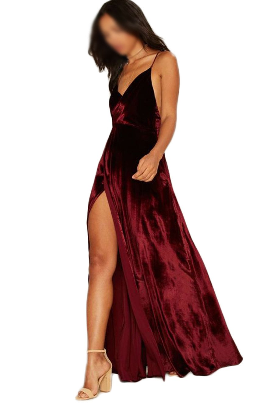 Amazon.com: Chupeng Womens Backless Prom Dresses V Neck Straps Velvet A Line Slit Evening Dress: Clothing