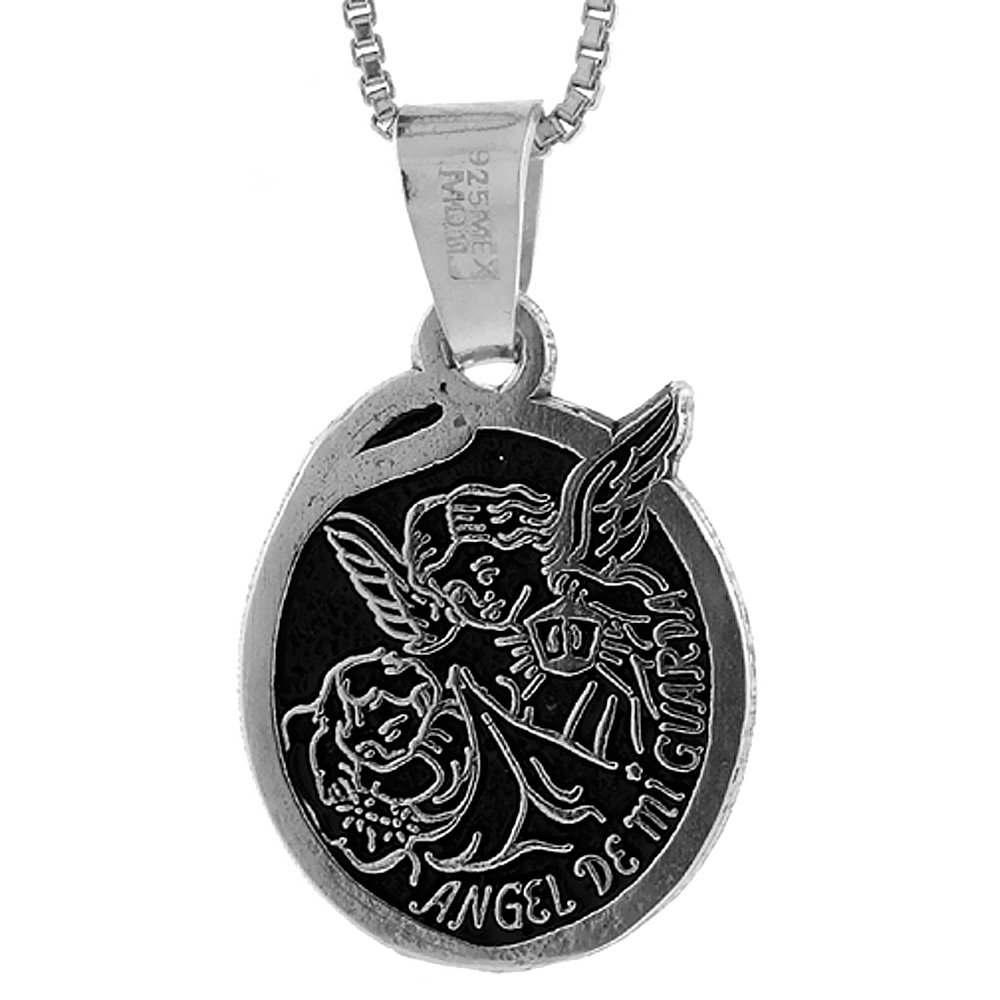 Sterling Silver Spanish Angel Mi Guarda Necklace Oval 3//4 inch Tall 18-30 inch Chain My Guardian Angel