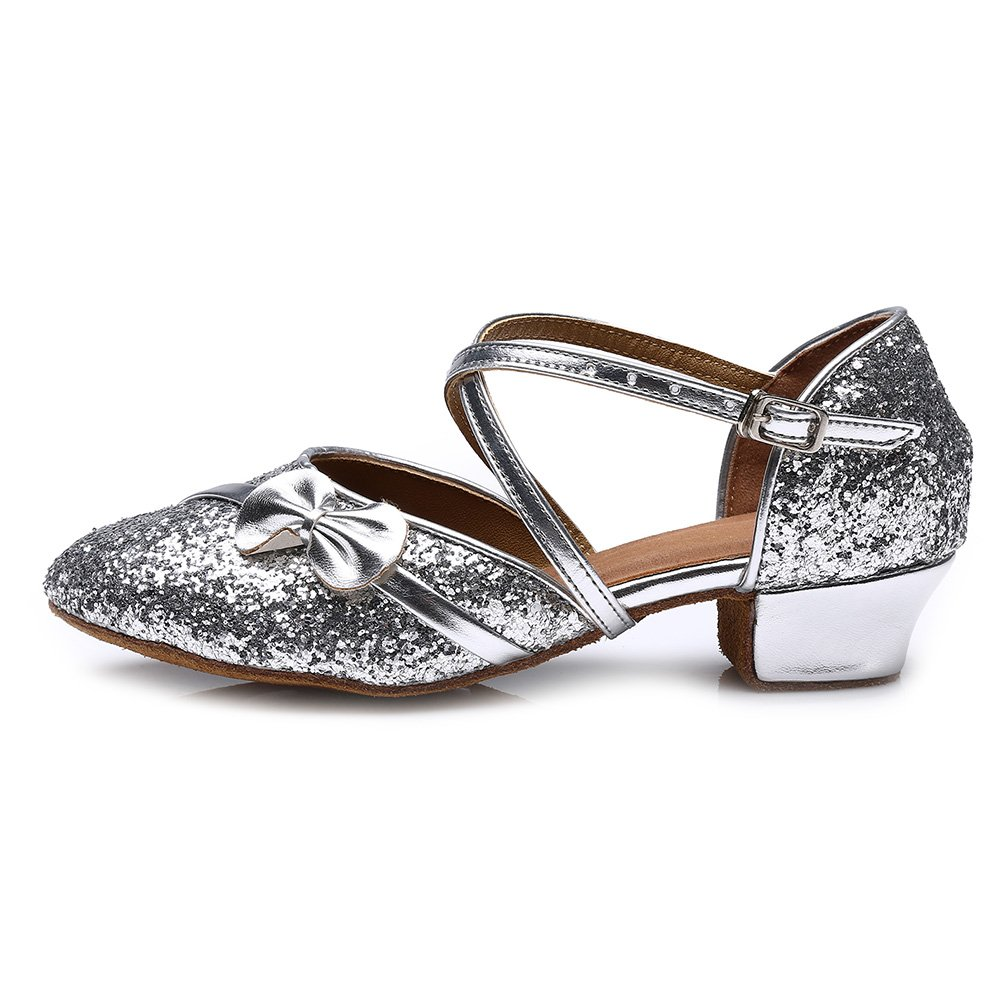Roymall Girls&Women's Silver Sequins Latin Dance Shoes Ballroom Performance Shoes,Style 208, 11.5 M Little Kid