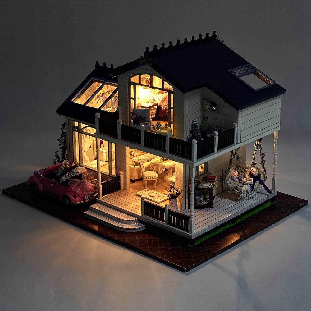 die dekorative Verzierungs-Puppenhaus-Villa f/ür Kinderkind zusammenbaut Jacksking H/ölzernes Puppenhaus DIY h/ölzerne Miniatur