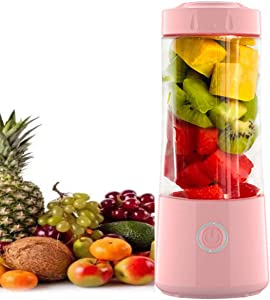 OOFAH Juicer, Portable Personal Size Blender,USB Rechargeable Mixer for Smoothie, Fruit, Milk Shakes, 400ml,(Pink)