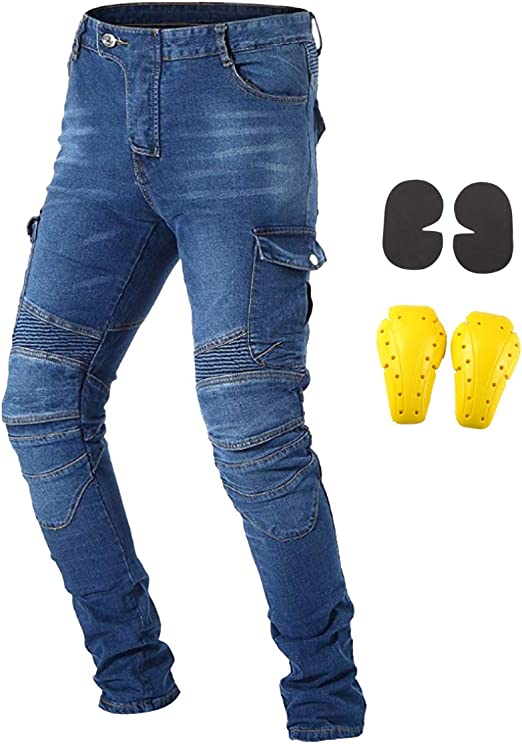 Professional Outdoor Knee Protective Bicycle Jeans Men Racing Motorcycle Pants M