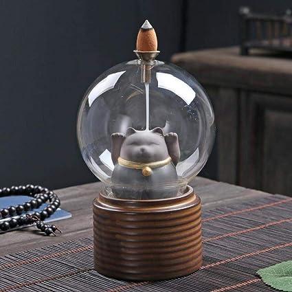 家庭用アロマディフューザー アクリル酸逆流香炉とカバーセラミック香の煙の香りホールド滝の山や川のアート&クラフト (Color : 2)