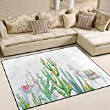 ALAZA Watercolor Tropical Cactus Llama Mexican Area Rug Rugs for Living Room Bedroom 7' x 5'