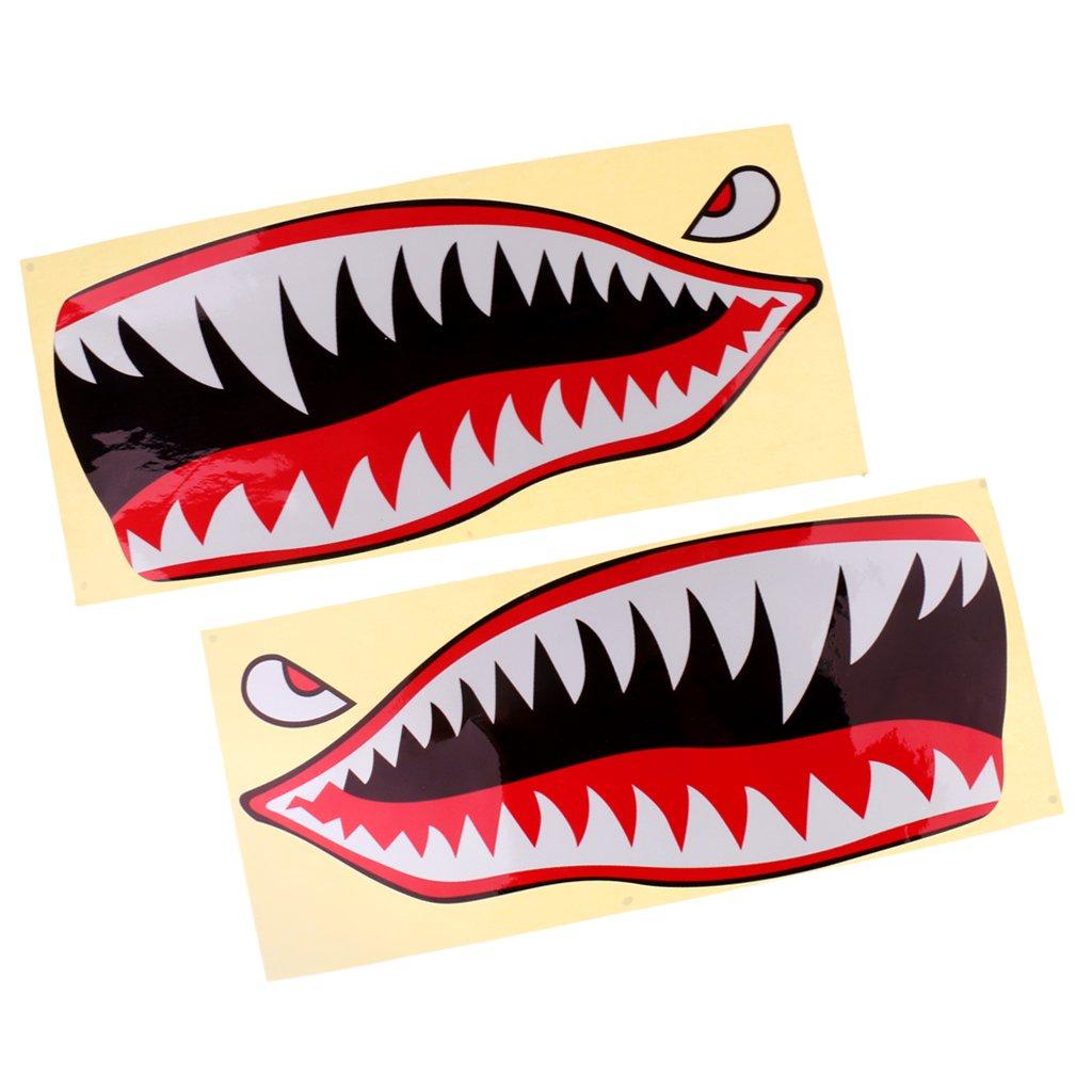 MagiDeal 2 Piezas Tibur/ón Dientes Boca Ojos Calcoman/ías Pegatinas Kayak Barco Pesca Gr/áficos Accesorios