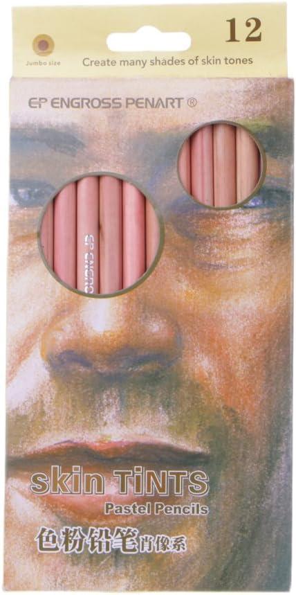 LANDUM Lápices de Colores Pastel Suaves Profesionales de 12 Piezas Piel de Madera Tinte Lápiz de Color Pastel
