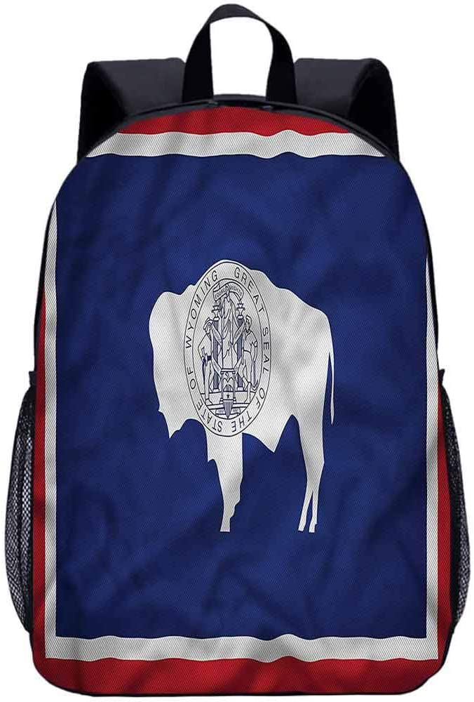 American Middle School Backpack,Bison Wyoming Flag Purity Laptop Backpack for Kids Adults