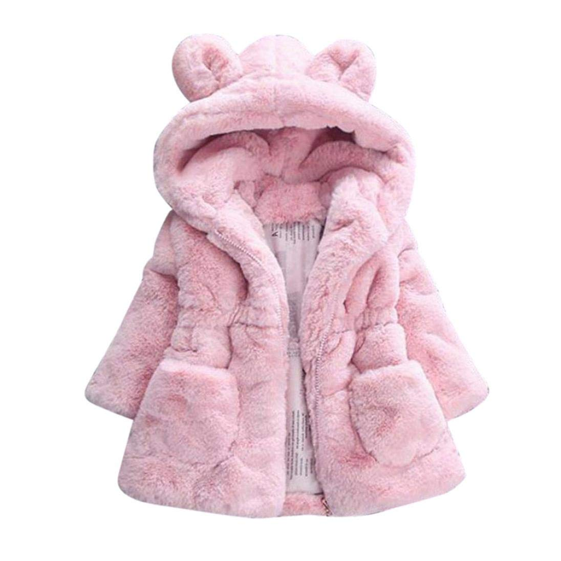 Winsummer Baby Boys Girls Toddler Kids Fall Winter Fleece Thick Down Coat Jacket Outerwear Faux Fur Hoodies Jackets (Pink, 4T)