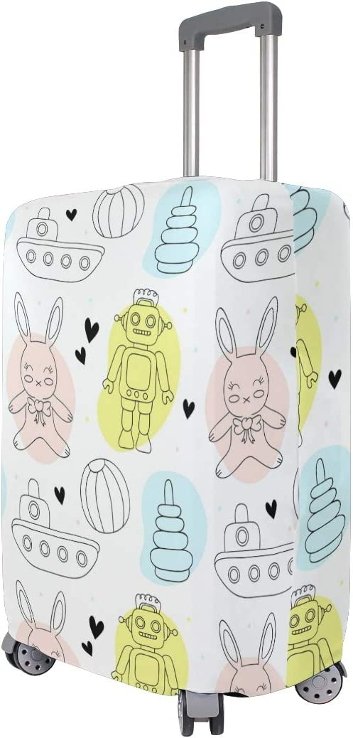 FOLPPLY Cartoon Robot Rabbit Pattern Luggage Cover Baggage Suitcase Travel Protector Fit for 18-32 Inch