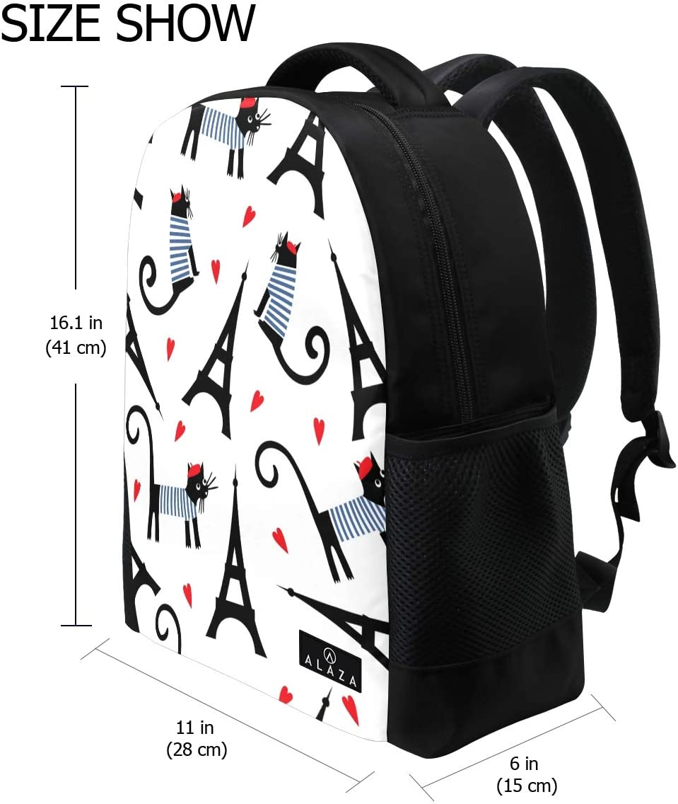 My Daily Eiffel Tower Cat Romantic Hearts Backpack 14 Inch Laptop Daypack Bookbag for Travel College School