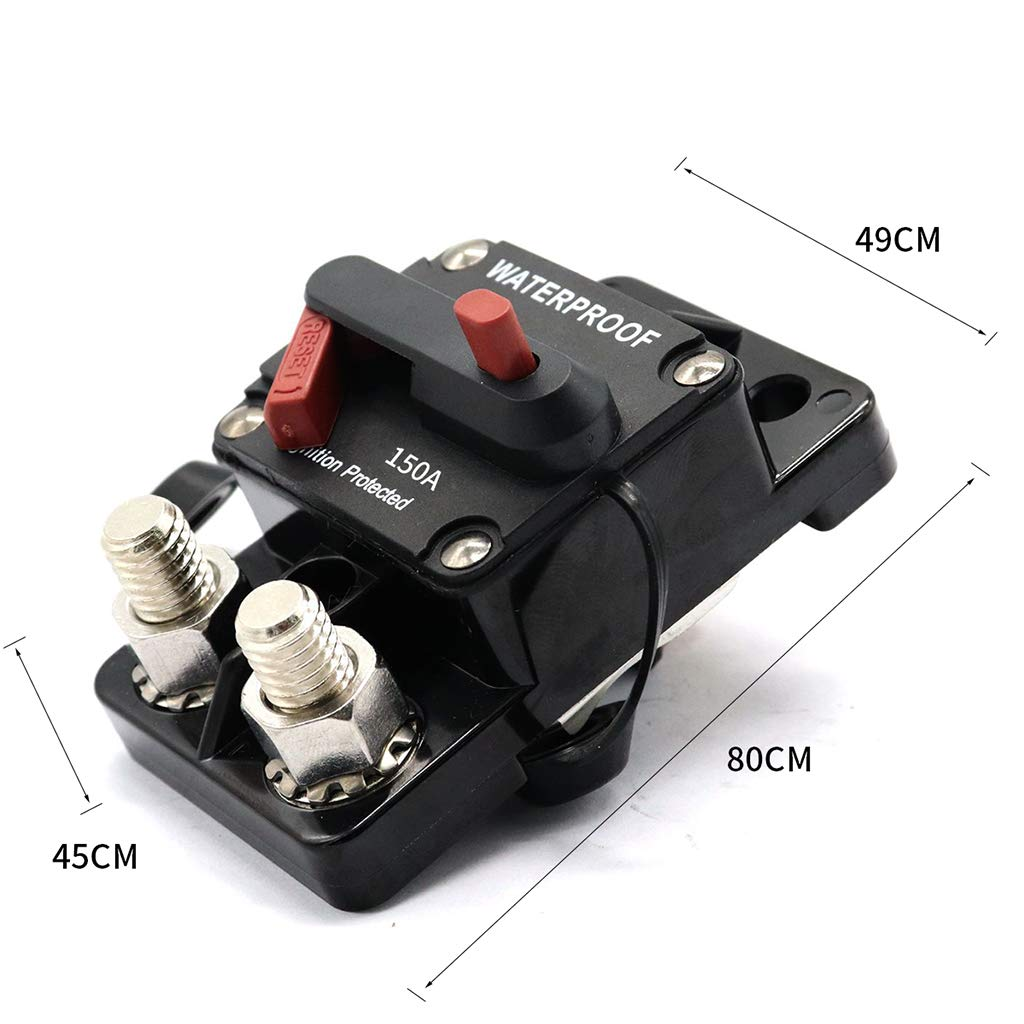 gazechimp 150A Circuit Breaker Inline Fuse Inverter with Manual Reset for Marine Boat Car Auto Truck ATV Caravan Waterproof 12V- 72V DC 150 Amp