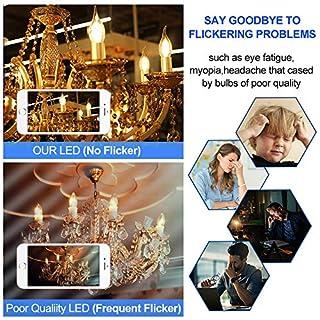 Dimmable LED Candelabra Bulb,CA11 Shape,Flame Tip Style, 60Watt Equivalent, 2700K Soft White, E12 Base, Chandelier LED Edison Light Bulbs,12 Pack