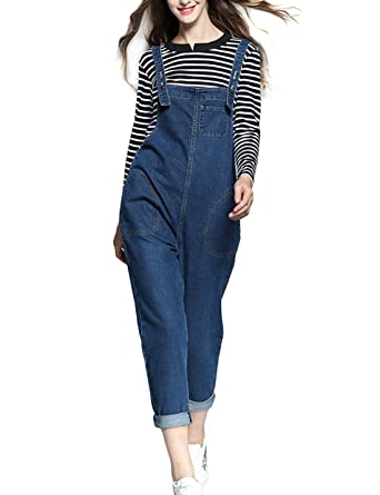 5855e304eb80 Yeokou Women s Casual Relax Fit Denim Bib Overalls Pant Jeans Jumpsuits  Rompers (X-Small