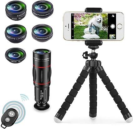 Apexel 8 en 1 Kit de Lentes de cámara para teléfono Teleobjetivo ...