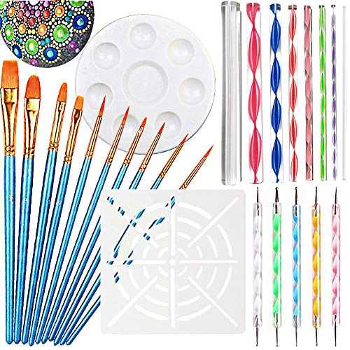 - Mandala Dotting Tools for Painting, Rock Painting Kits, Nail Art, Polymer Clay, DIY Supplies with Ball Stylus Dot Pen, Paint Brush Set, Flat Head Acrylic Stick, Mandala Stencil and Tray (25 PCS Kit)