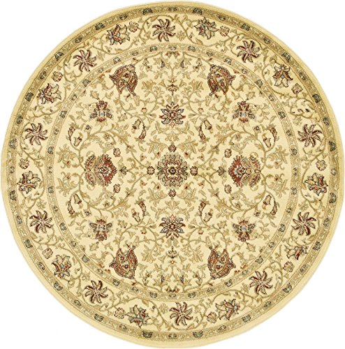 Unique Loom Voyage Collection Traditional Oriental Classic Cream Round Rug (6' 0 x 6' -