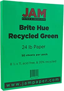 "JAM PAPER Bright Color Paper - 8 1/2"" x 11"" - 24lb Brite Hue Green Recycled - 50 Sheets/pack"