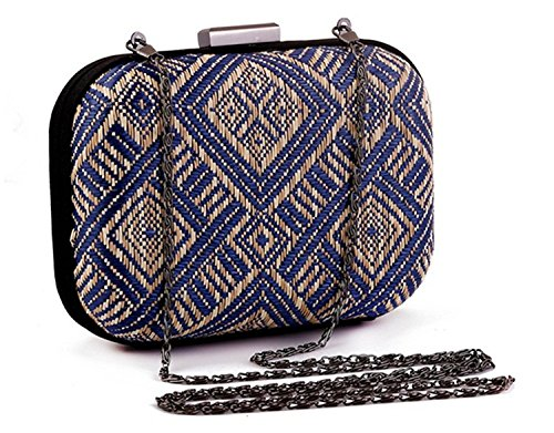 Evening Vintage Crochet Women's Black Geometry Ethnic Hardcase Straw Bag Clutch Party Purse qnXntOx