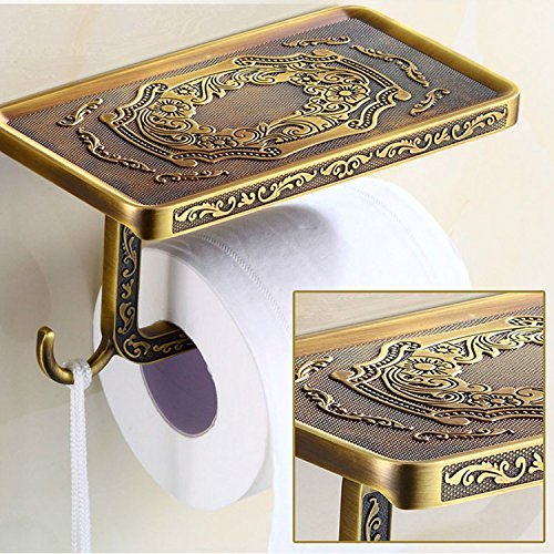 Votamuta Wholesale And Retail Antique Carving Toilet Roll Paper Rack wiht Phone Shelf Wall Mounted Bathroom Paper Holder And hook