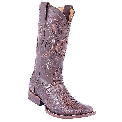 0c9975f0bce Amazon.com : Cuadra Men's Square Toe Caiman Belly Lumber Bone Cowboy ...
