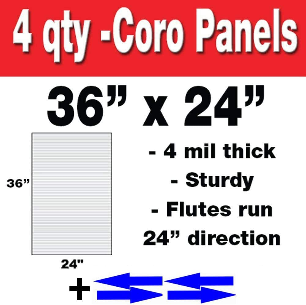 Good,, 4mm Corrugated Plastic, Coroplast Sign Sheet, 4pk with Arrow Stickers, for Advertising Business, Baby showers, Graduations and More!