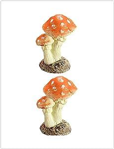 DAWEIF 2PCS Top Sale Mushroom Toadstool Miniature Fairy Garden Terrarium Figurine Dollhouse Decor