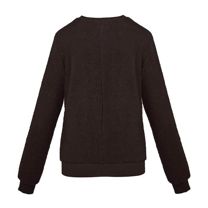❤ Suéter de Invierno Mujer de Felpa, Suéter Ropa Interior térmica de imitación Piel de Cordero Cuello Redondo Blusa de Manga Larga Absolute: Amazon.es: ...