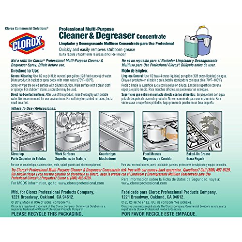 Amazon.com: Clorox Commercial Solutions Professional Multi-Purpose Cleaner & Degreaser Concentrate, 128 Ounce Refill, 4 Bottles/Case (30861): Industrial & ...
