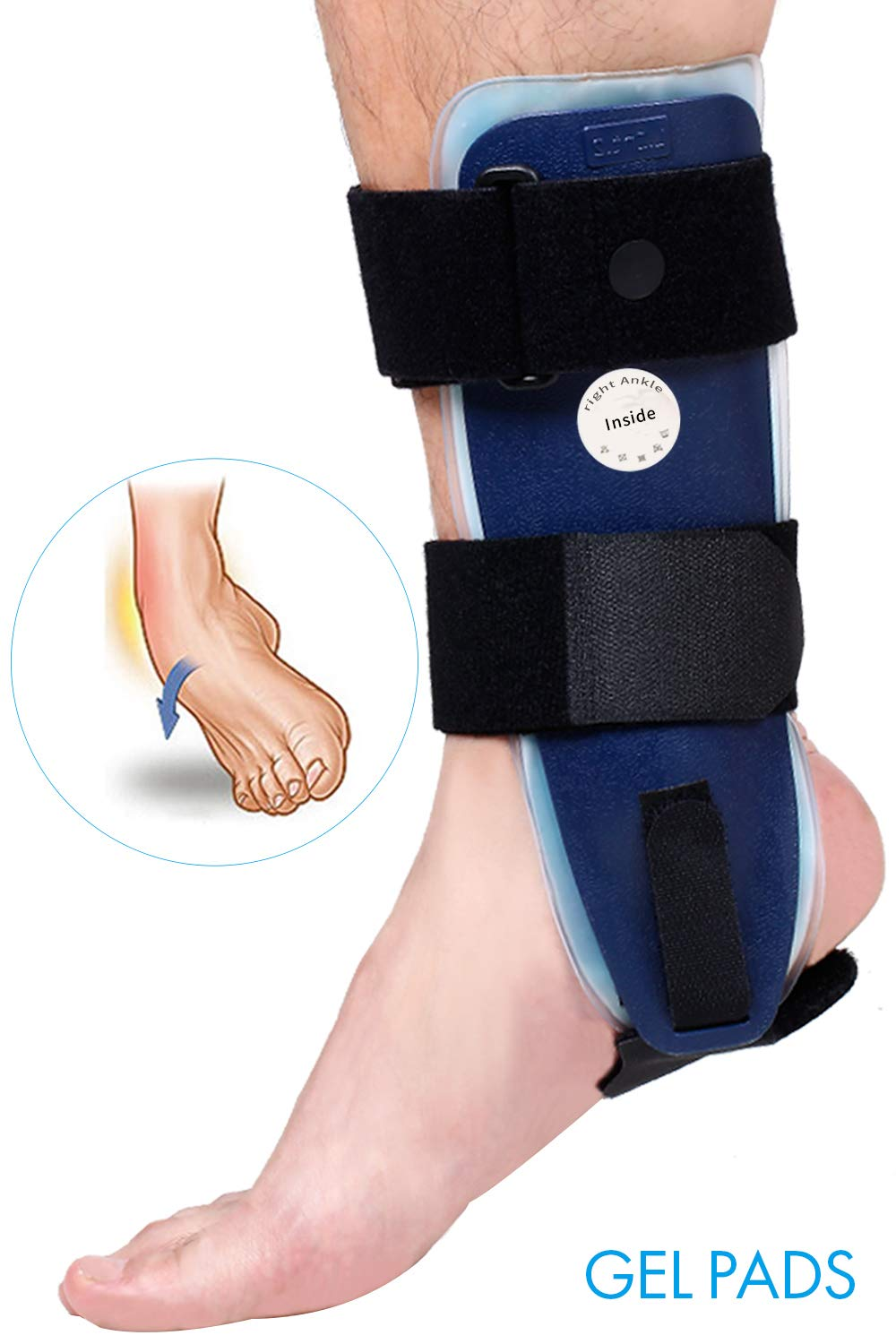 Velpeau Ankle Brace - Stirrup Ankle Splint - Adjustable Rigid Stabilizer for Sprains, Strains, Post-Op Cast Support and Injury Protection (Gel Pads, Large - Right Foot) by Velpeau