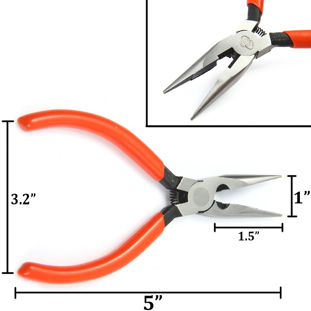 Pliers Set with Needle Nose Pliers, Wire Cutters, Phillips Screwdriver and Slotted Screwdriver Professional Repair Tool Kit by TotaLohan (Image #3)