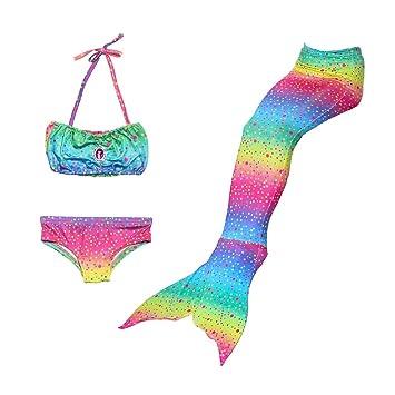 Delicacydex Traje de baño con Estampado Floral en Forma de Sirena 3PCS con Panty Cabestro Chaleco Superior Sujetador Moda Verano Playa Traje de baño para ...