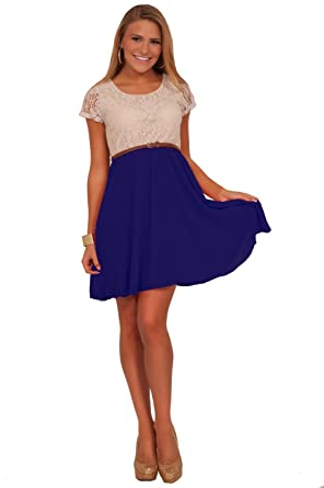 2ee03cb9c924 Crochet Lace Fit-N-Flare Chiffon Double Layered Casual Sweet Teen Dress:  Amazon.co.uk: Clothing