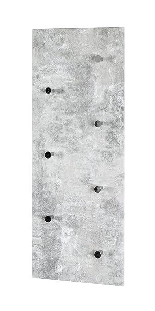 Haku-Möbel 42650 Wandgarderobe, Metall, Betonoptik-Chrom, 5,5 x 80 x ...
