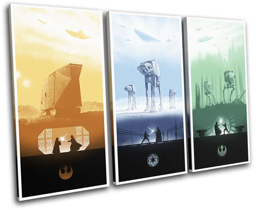 Bold Bloc Design - Star Wars Trilogy Posters Movie Greats 120x80cm TREBLE Canvas Art Print Box Framed Picture Wall Hanging - Hand Made In The UK - Framed And Ready To Hang
