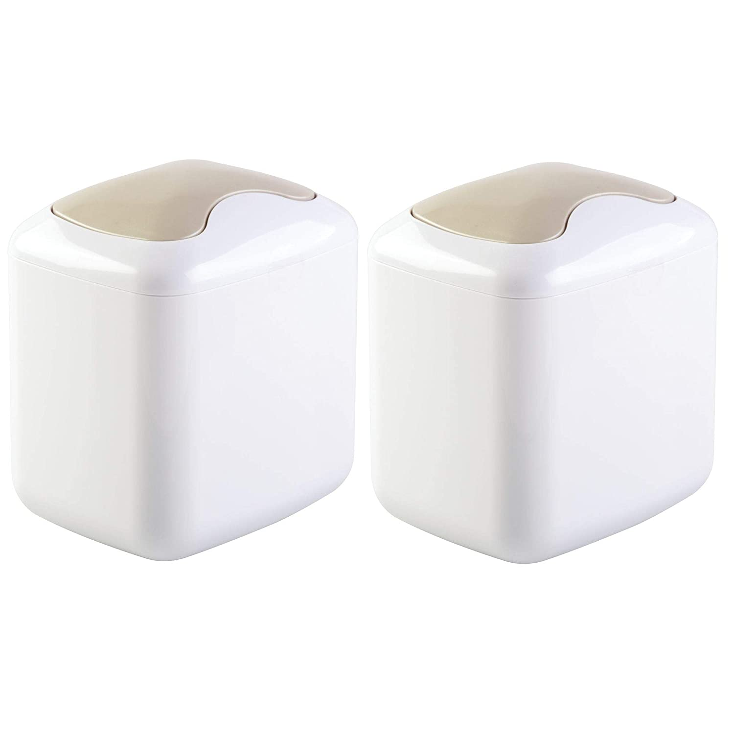 mDesign Modern Plastic Mini Wastebasket Trash Can Dispenser with Swing Lid for Bathroom Vanity Countertops or Tabletop to Dispose of Cotton Rounds, Makeup Sponges, Tissues, 2 Pack - White/Satin MetroDecor