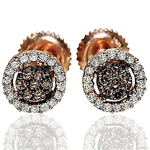 Chocolate Diamond Pave - Rose Gold Cognac White Diamond Earrings Screw Back 7mm 0.25cttw W Round(1/4cttw)