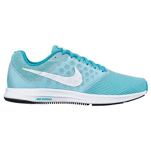 buy online f2301 ca7ee Nike Downshifter 7 Still Blue White Chlorine Blue Black Women s Running  Shoes  Amazon.in  Shoes   Handbags