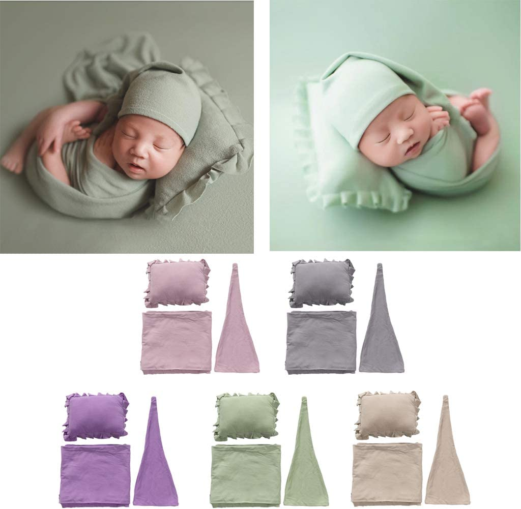 Stretch Knit Newborn Wraps Pink Hat Youlin 3-Piece Baby Photography Props Blanket Set Pillow