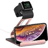 Support Apple watch, Mercase Station de Charge pour iWatch [en Mode Table de Nuit], Dock de Chargement pour Apple Watch Series 4/3/2/1 (42mm 38mm) avec l'angle stable iPhone x 8 7 Samsung et iPad, iPod, Tablette-Gris
