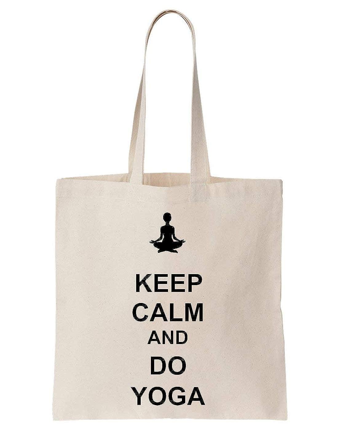 KRISSY Keep Calm And Do Yoga Algodón Bag Tote Bag: Amazon.es ...