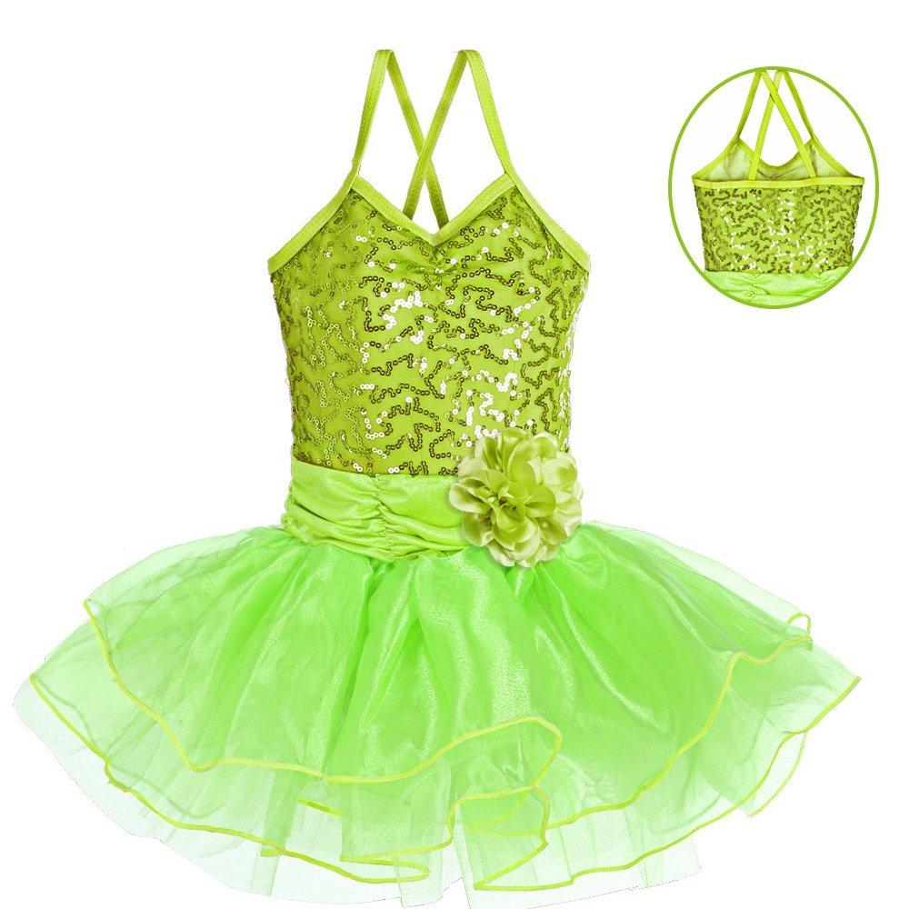 daa601cbf Amazon.com  Leotard for Girls Ballet Dancing Camisole Shiny Sequined ...