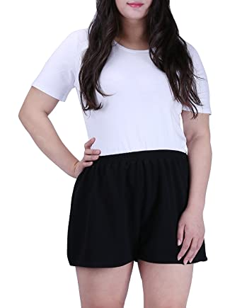 Womens Plus Size Shorts US 1X 2X 3X Patterned Solid Black Pull On Elastic Waist