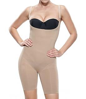 39cf4a6f32 KHAYA Women s Shapewear Bodysuit Open Bust Waist Control Body Shaper ...