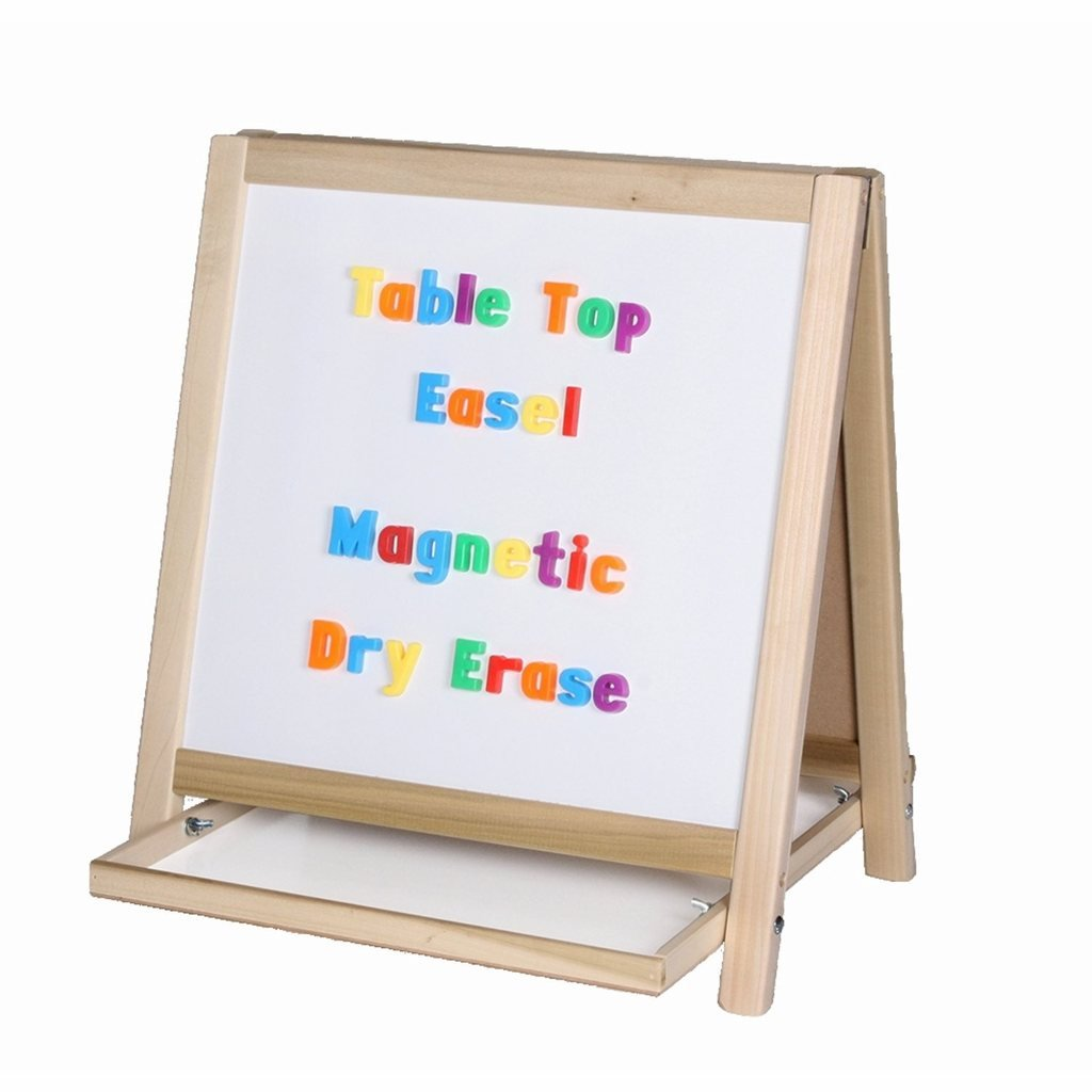 Two-Sided Table Top Easel - Magnetic Whiteboard & Green Chalkboard with Tray (H18.5 x W18ins)