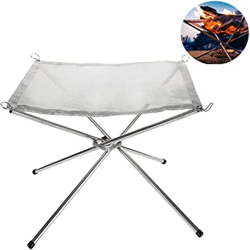 Da Jia Inc Portable Folding Stainless Steel Fire Pit with Carrying Case Outdoor Bonfire Stand Mesh Sheet